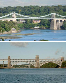 The two Menai strait bridges