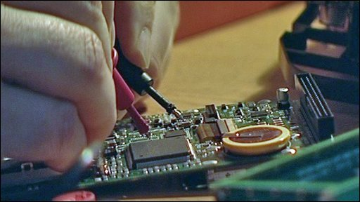 Circuit board being soldered