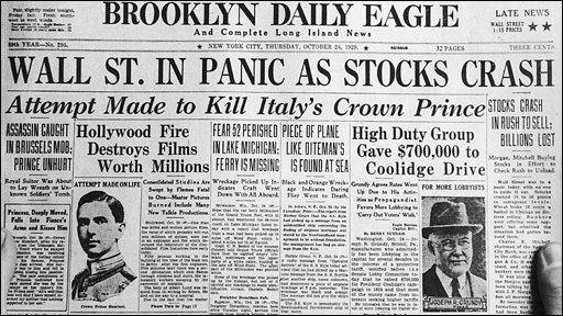 Brooklyn Daily Eagle covers the Wall Street Crash, 1929