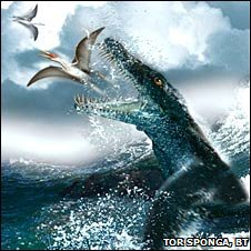 Artist's impression of &quot;The Monster&quot; catching a pterosaur