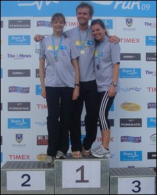 Chris with fellow runners Helen Bowran and Rececca Ward have a podium finish!