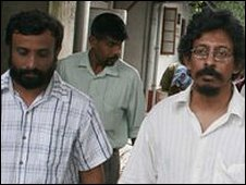 Mr Jaseeharan (l) was freed but with Mr Tissainayagam (r) was sentenced in August