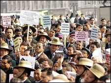 Gurkhas protesting in 2007