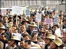 Gurkhas protesting in 2007