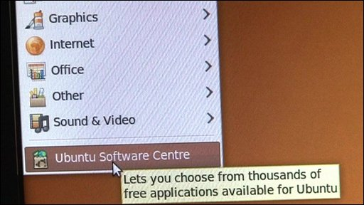 Ubuntu menu with Software Centre highlighted
