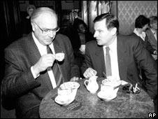 Helmut Kohl and Miklos Nemeth