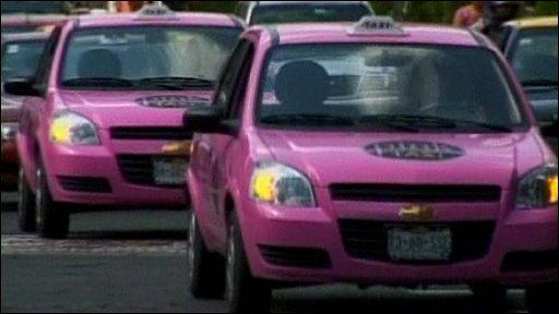 Pink taxi cabs in Puebla, Mexico