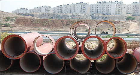 Pipes at Beit Lahia waste water treatment plant