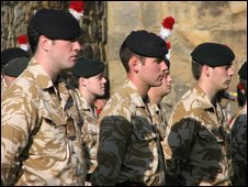 Soldiers of the Territorial Army's 5th Battalion Royal Regiment of Fusiliers on parade