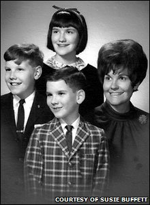 Susie Buffett (right), with her children, Susie (top), Howie (left) and Peter (bottom) (Picture courtesy of Susie Buffett)