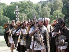 Drama reconstruction - a Roman legion on the march