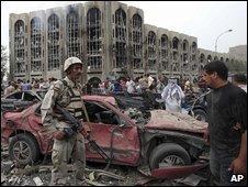 Scene of bombing in Baghdad, Iraq (25 October 2009)