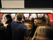 A Tube train during rush hour