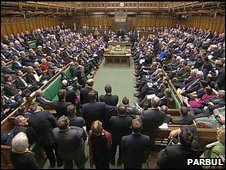 Members of Parliament in the Commons chamber of the Houses of Parliament, Westminster