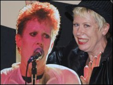 Hazel O'Connor with a cut-out of herself