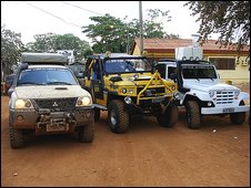 Three 4x4s - our main one on the left and two support vehicles - are what we need to secure our passage to Manaus