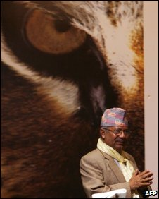 Nepalese Prime Minister Madav Kumar Nepal attends the inauguration of the Global Tiger Workshop