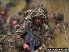 Members of the London Regiment in training for deployment to Afghanistan