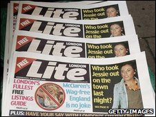 London Lite newspapers on display