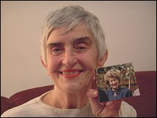 Vasilija Plavsic holds a picture of her sister-in-law, Biljana Plavsic