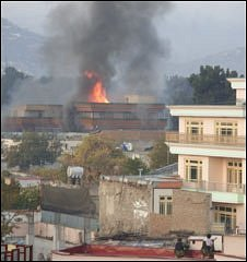 Guesthouse on fire in Kabul, 28 October