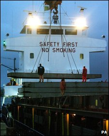 Ship where cigarettes were found