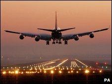 Plane preparing to land at Gatwick