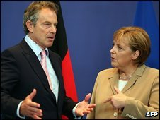 Tony Blair and Angela Merkel
