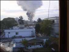 Smoke from explosion in Kabul