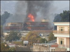 Building on fire in Kabul