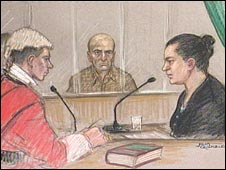 Hanim Goren giving evidence, watched by husband Mehmet