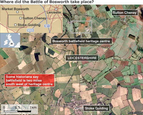 Map of Battle of Bosworth heritage centre and surrounding area