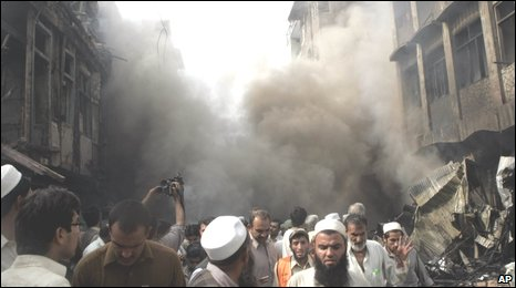 Scene of the blast in Peshawar, Pakistan