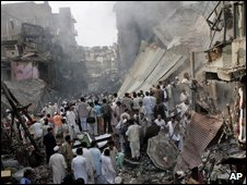 Scene of the blast in Peshawar
