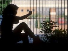 Girl in silhouette (posed by model)
