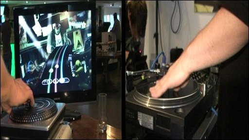 DJ Hero deck and real record deck