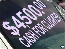 Car advertising the 'Cash for Clunkers' scrappage scheme