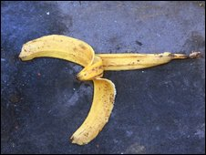 Banana skin on floor