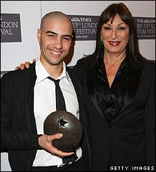 Anjelica Huston with Tahar Rahim, star of A Prophet