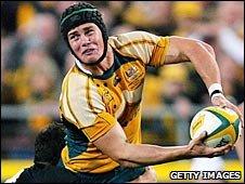 Berrick Barnes in action against New Zealand