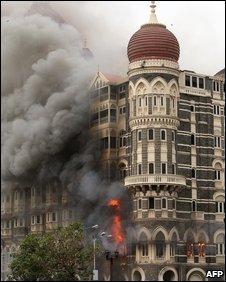 The Taj Mahal Hotel in flames (file pic: 2008)