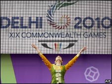 A dancer performs at the launch of the Commonwealth Games Queen's baton relay for Delhi 2010 in London