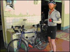 Scott Napier with his bike in South America