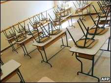 An empty classroom in Sidon, Lebanon