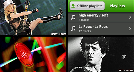 Clockwise from top left: Madonna, Spotify, Lou Reed, CDs