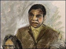 Court sketch of Desire Munyaneza during his sentencing, 29 October 2009