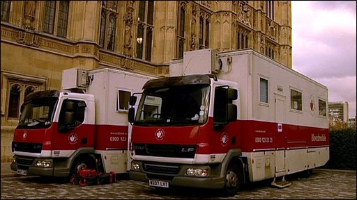 Blood donor trucks at Parliament