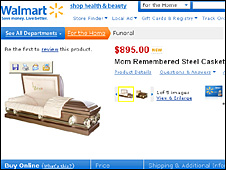 Mom Remembered Steel Casket (Wal-Mart website)