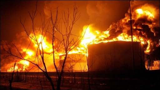 The blaze at an Indan oil plant