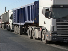 Queue of lorries (generic)
